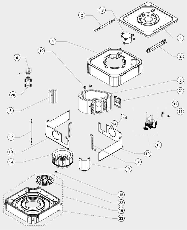 Развернута схема кассетного фанкойла